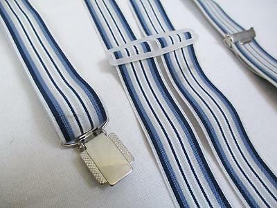 Vintage 70's Mens Blue Grey Stripe Clip On Braces Trouser Suspenders Retro Mod