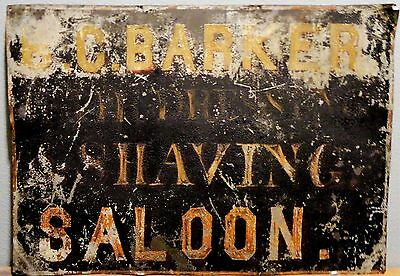 Antique Hand Painted Tin Advertising Sign