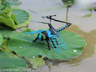 Blue Length 21.8CM Remote Control Plane Helicopter Model Gift Dragonfly Toys