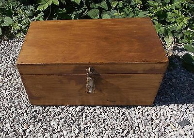 antique pine box, old French pine box, industrial trunk