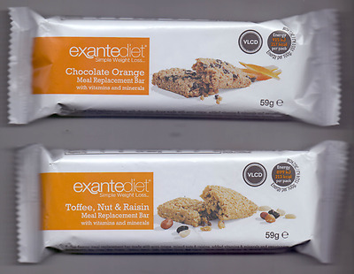 20x Exante Diet VLCD Bars - Chocolate Orange & Toffee, Nut and Raisin - MRP