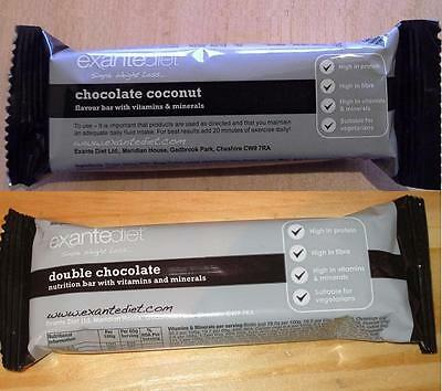 20x Exante Diet VLCD Bars - Chocolate Coconut and Double Chocolate - MRP
