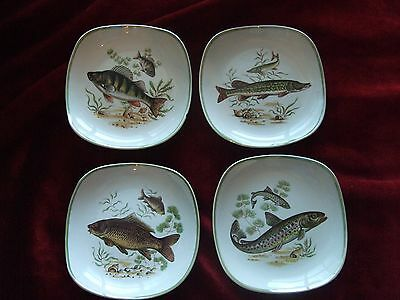 Four Small Hanley Staffordshire Sandland Dishes Plates with River Fish Theme