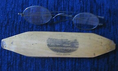 Mauchline Ware Spectacles Case With Victorian Spectacles