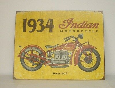 "Indian Motorcycle ""1934"" Metal Sign (2869906) NEW"