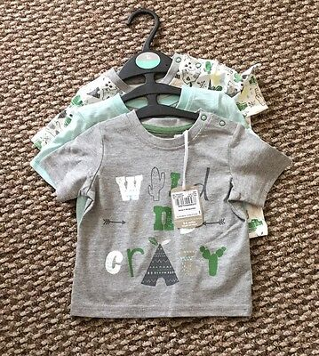 BNWT TU SET Of 3 BABY BOYS T SHIRTS WILD AND CRAZY MULTI AGE 3-6m