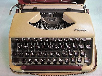 Vintage 1962 Olympia SF Deluxe Portable Typewriter Refurbished with Warranty