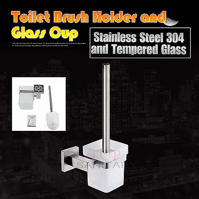 Toilet Brush SET Square Stainless Steel Holder Wall + Matt Glass Cup Wall Mount