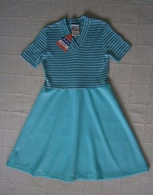 Vintage Girls Dress - Age 7 Years - Green - Green & White Striped Top - New