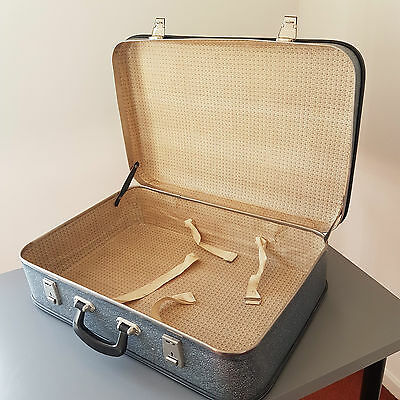 Blue Abstract Pattern Vintage Suitcase with Metal Clasps - Perfect for Weddings