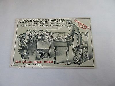 C. M. Henderson's Red School House Shoes Trade Card - Who's Eating Apples?