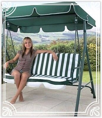 DELUXE 3 Seater Patio Swing Chair Canopy Seat Garden Hammock Outdoor Porch Bench