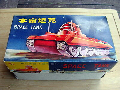 """Gyro action China -  Blechspielzeug """"Space Tank ME091"""" 1960 - TOP in OVP !"""