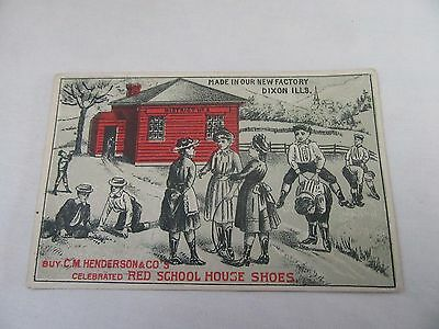 C. M. Henderson's Red School House Shoes Trade Card - Red School House