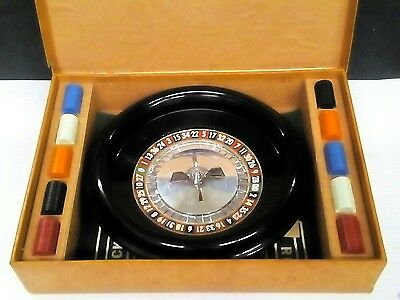 """Vintage Roulette Wheel by Cardinal Industries NY,NY 8"""" - with ball & Booklet Box"""