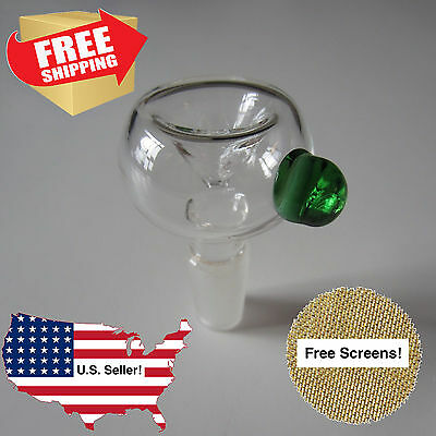 14mm Bowl -- Clear and Green Round Thick Pyrex Glass Slide Male