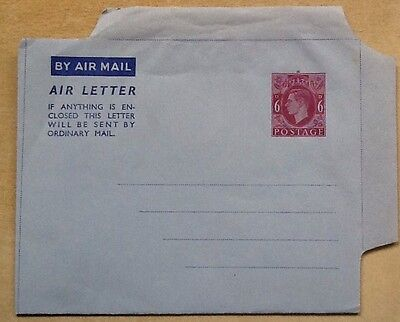 gb postal stationery kg6 air letter 6d