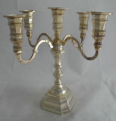 N4873 Stupendo Candelabro 5 Fiamme In Argento Sheffield Collection