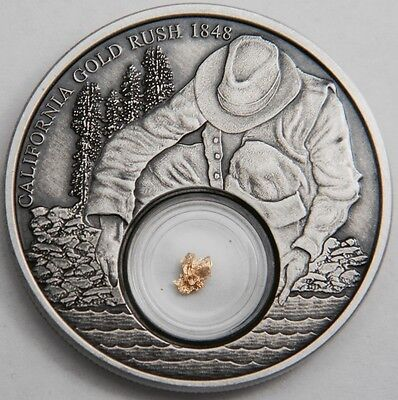 2016 Niue California Gold Rush 1oz Proof Antique Silver Coin with 24kt Gold Leaf