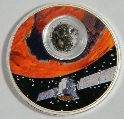 USA Mission to Mars 1oz Proof Silver Coin w/ meteorite, 2017 Niue