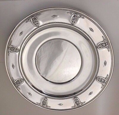 """Huge Wallace Rose Point 4640 Sterling Silver Plate Tray Charger 13.5"""" Dia 700 Gr"""