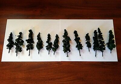 12  n scale Woodland scenic's Conifer green pine trees