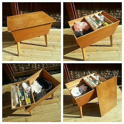 Vintage Wooden Sewing Box Side table removable tray with contents Attic Find!