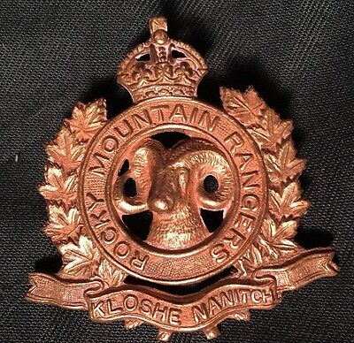 WWII ROCKY MOUNTAIN RANGERS Canada cap badge WW2 Canadian SCULLY hat brass