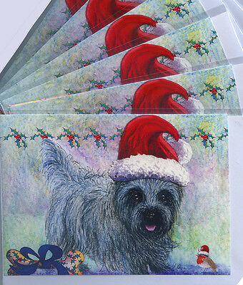 6 Cairn terrier dog robin Santa hat holiday Christmas art cards by Susan Alison