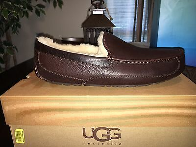 UGG Ascot China Tea Brown Leather Fur Slippers Mens Size 13 *NEW*