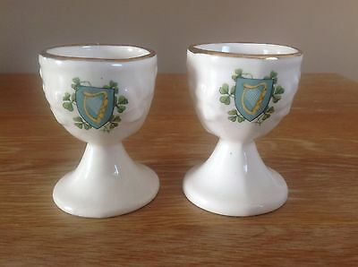 Pair of Carrigcraft Carrigaline Vintage Collectable Egg Cups Clover Cork Ireland