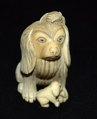 Fine carved meiji period carved  dog with pup/ rats and bees exc. quality
