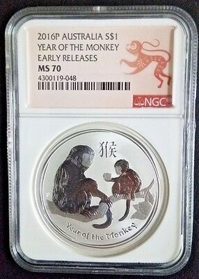 2016 P Australia Silver Lunar Year of the Monkey NGC MS 70 1 oz Coin ER Perfect