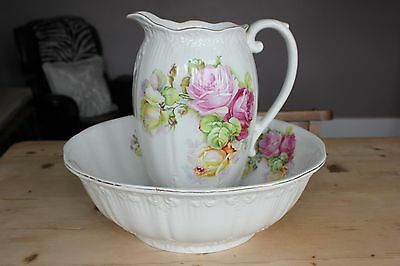 Large Decorative Jug and Bowl with Flower Design