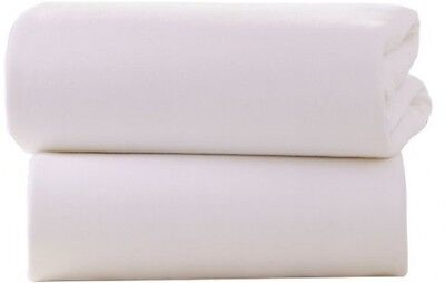 Clair De Lune Cot Bed Cotton Jersey Fitted Sheets (Pack Of 2, White)