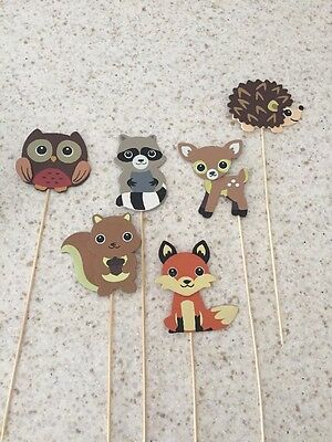 6 Painted Wooden Woodland Forest Animals Diaper Cake Birthday Cupcake Toppers