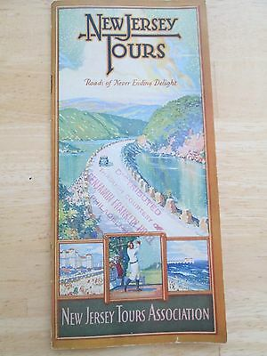 Vintage New Jersey Tours Association AUTO MAP Guide & Early Pictures with Map