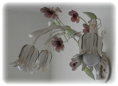 Antique Vintage Tole Italian 3 Lt Wall White Shabby Sconce Flowers & Leaves