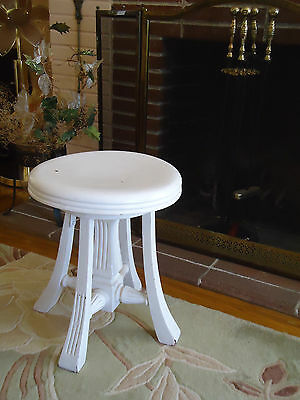 Vintage Hardwood Solid stool painted white