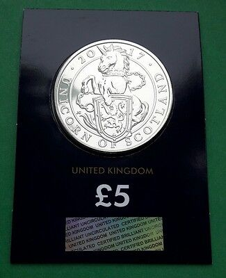 2017 Queen's Beasts Unicorn of Scotland UK Five Pound  £5 BU Coin Certified #1