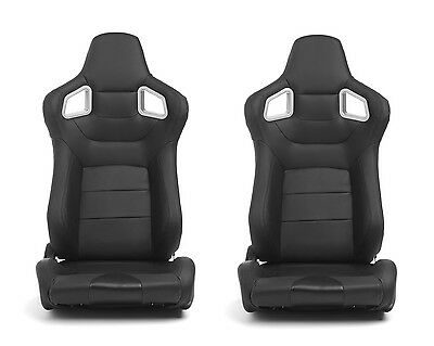 2x Mustang Black-Driver-Passenger-Side-Racing-Seats-Reclinable CORBEAU Style