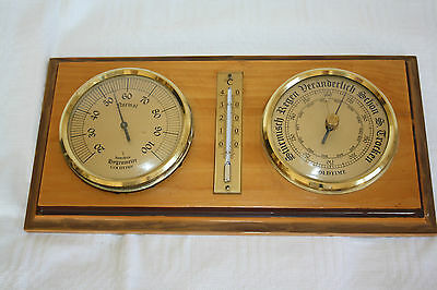 Goldtime - Wetterstation Thermometer Barometer Hygrometer Holz Messing