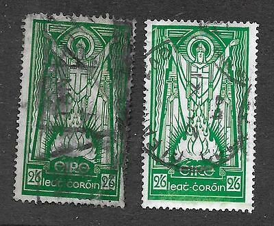 IRELAND LOT of 2 St. PATRICK 2/6, green with different watermarks ; Sc# 96 + 121