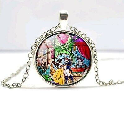 Beauty And The Beast Necklace Disney Inspired Stain Glass Pendant