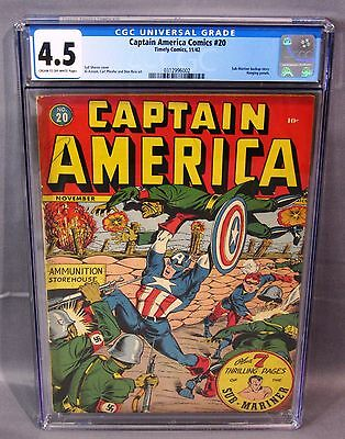 CAPTAIN AMERICA COMICS #20 (Hanging Panels) CGC 4.5 Golden Age 1942 Timely