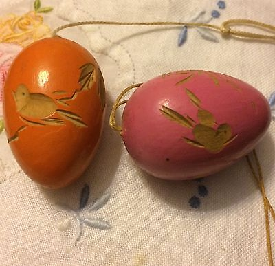 Antique Vintage Aesthetic Carved Wooden Eggs