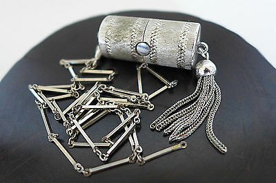 Vintage Ladies Bucherer Pendant Sliding Peek A Boo Silver Watch Necklace As Is