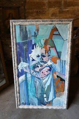 20th century Oil on canvas painting of a clown with bird by Jose Christopherson