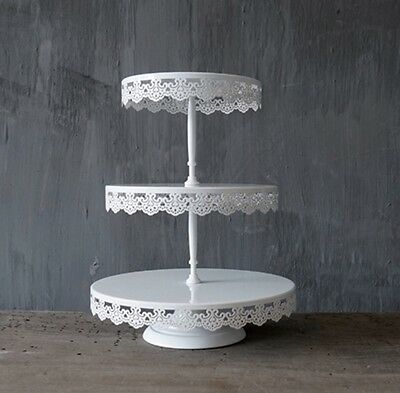 3 Tier LACE White Iron Metal Cupcake Cake Stand