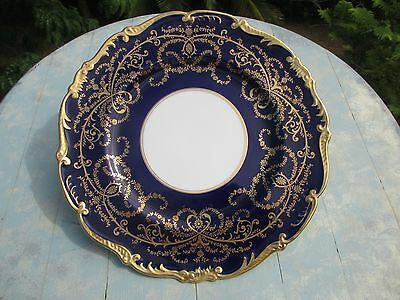 "Coalport Anniversary Dinner Plate 10.75""  Cobalt with Heavy 24k Gold NEVER USED"